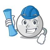 Architect golf ball character cartoon