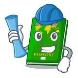 Architect green passport in the cartoon shape. Vector illustration stock illustration