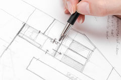 Architect Hand Drawing House Plan Sketch Stock Photography