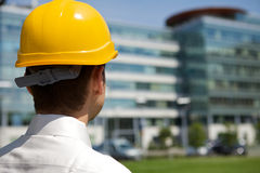 Architect in hardhat at construction site Royalty Free Stock Photo