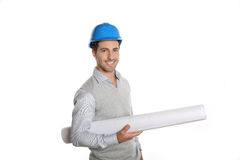 Architect with helmet holding a blueprint Royalty Free Stock Photos