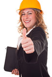 Architect with helmet holding thumb up Royalty Free Stock Photos