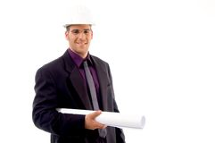 architect helmet male wearing young Στοκ φωτογραφία με δικαίωμα ελεύθερης χρήσης