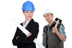An architect and her foreman. Stock Photo
