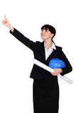Architect with her hand up Royalty Free Stock Photo