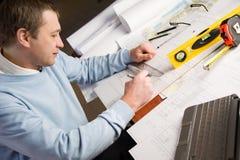 Architect in het werk. Stock Foto