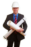 Architect with his blueprints Royalty Free Stock Photos