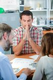 Architect with his clients. Architect stock image