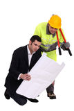 An architect and his foreman. Royalty Free Stock Photo