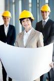 Architect holding blue print Stock Image