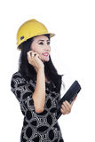 Architect holding cellphone and tablet Royalty Free Stock Photography