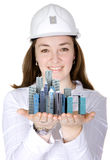 architect holding corporate buildings Stock Photography