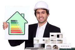 Architect holding model house. And energy rating poster royalty free stock images