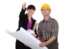 Architect holding plans Stock Photography