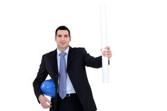 Architect holding plans Stock Images