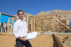 Architect with home plans Stock Photography