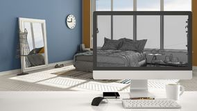 Architect house project concept, desktop computer on white work desk showing CAD sketch interior design, modern colored bedroom. In the background stock images