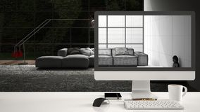 Architect house project concept, desktop computer on white work desk showing CAD sketch, minimalistic living room interior design. In the background stock images