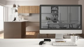 Architect house project concept, desktop computer on white work desk showing unfinished CAD sketch or drawing, real finished minim. Alist white and wooden Stock Photos