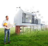 Architect house project royalty free stock image