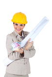 Architect hugging blueprints Stock Photo
