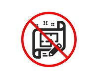 Architect icon. Engineering plan sign. Vector. No or Stop. Architect icon. Engineering plan sign. Edit project document. Prohibited ban stop symbol. No architect vector illustration