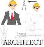 Architect illustration with typography. Royalty Free Stock Photos