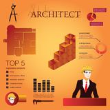 Architect illustration with typography. Stock Photo