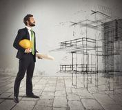 Architect imagines a project Royalty Free Stock Photos