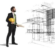 Architect imagines a project Royalty Free Stock Photography