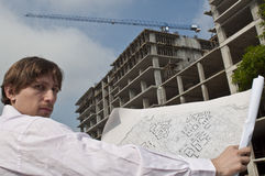 An Architect Infront of Construction Site Stock Image