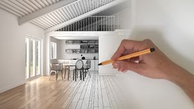 Architect interior designer concept: hand drawing a design interior project and writing notes, while the space becomes real, white. Wooden modern open space royalty free stock photos