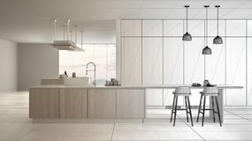 Architect interior designer concept: unfinished project that becomes real, minimalist luxury expensive white and wooden kitchen, vector illustration
