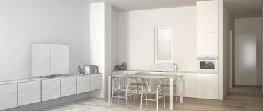 Architect interior designer concept: unfinished project that becomes real, minimalist white kitchen with dining table and parquet royalty free illustration