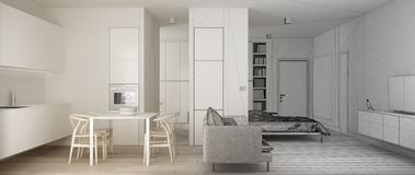 Architect interior designer concept: unfinished project that becomes real, one room apartment, white small kitchen with parquet, stock illustration