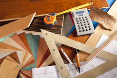 Architect interior designer workplace Royalty Free Stock Images