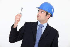 Architect with a key. To a new house Stock Image