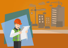 Architect looking at blueprint. Vector illustration of profession architect looking at blueprint with background of building royalty free illustration