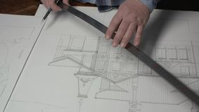 Architect Makes Blueprints At Home Office 4k stock video footage