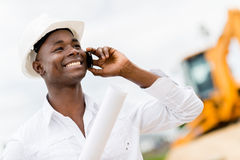 Architect making a business call Royalty Free Stock Image