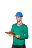 Architect making notes in the checklist. Check the operation. Stock Photography