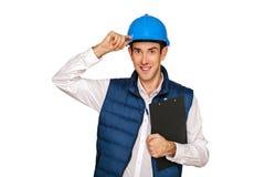 Architect man, blue helmet, isolated over white background. Royalty Free Stock Image