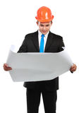 Architect man with map Royalty Free Stock Photography