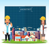 architect man and women and city landscape with a blueprint paper to replace your text. stock illustration