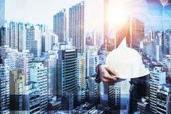 Architect man working hold engineer helmet, engineer inspection Stock Photography