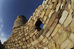 A distorted view from below of the Watchtower in Grand Canyon National Park. stock images