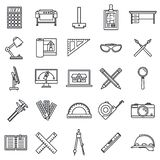 Architect material tool icons set, outline style royalty free illustration
