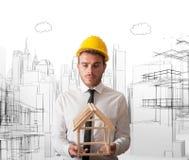 Architect met de bouw project stock afbeelding