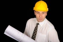 Architect met vloerplannen Stock Foto