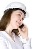 Architect on a mobile phone Royalty Free Stock Image